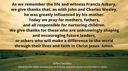 Francis Asbury's mother - prayer