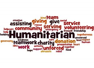 Humanitarian, word cloud concept on white background.